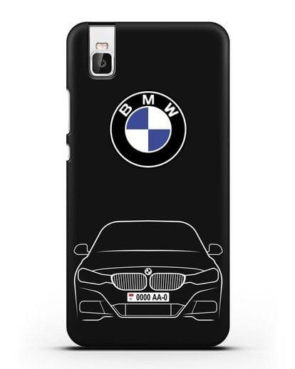 Чехол BMW 3 с автомобильным номером силикон черный для Honor 7i