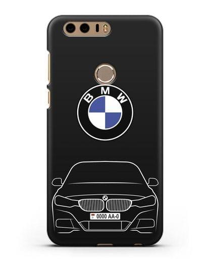 Чехол BMW 3 с автомобильным номером силикон черный для Honor 8