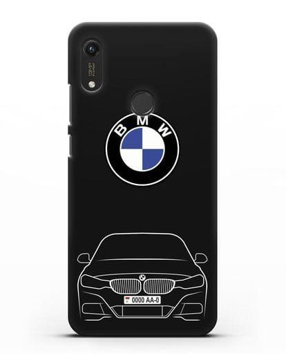 Чехол BMW 3 с автомобильным номером силикон черный для Honor 8A Prime