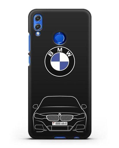 Чехол BMW 3 с автомобильным номером силикон черный для Honor 8X