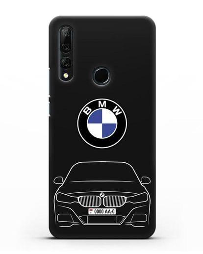Чехол BMW 3 с автомобильным номером силикон черный для Honor 9X