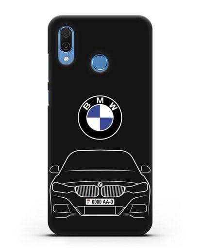 Чехол BMW 3 с автомобильным номером силикон черный для Honor Play