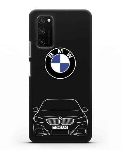 Чехол BMW 3 с автомобильным номером силикон черный для Honor View 30 Pro