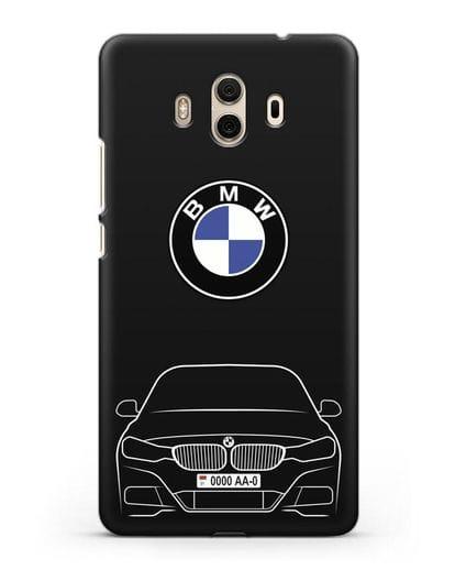 Чехол BMW 3 с автомобильным номером силикон черный для Huawei Mate 10