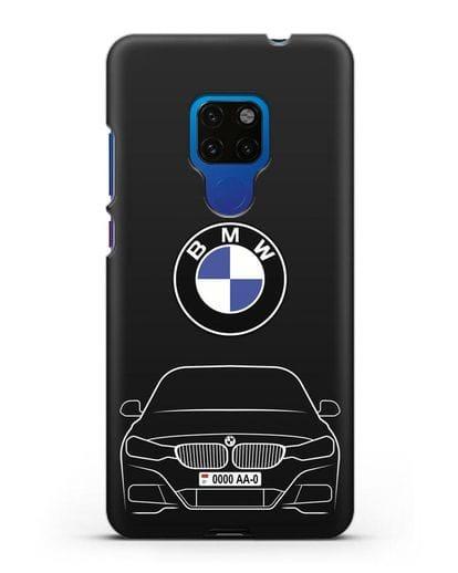 Чехол BMW 3 с автомобильным номером силикон черный для Huawei Mate 20