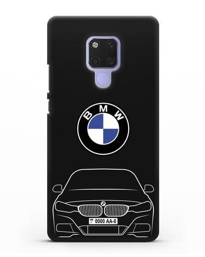 Чехол BMW 3 с автомобильным номером силикон черный для Huawei Mate 20X