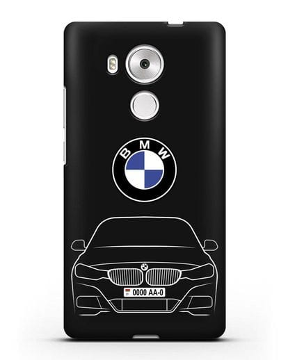 Чехол BMW 3 с автомобильным номером силикон черный для Huawei Mate 8