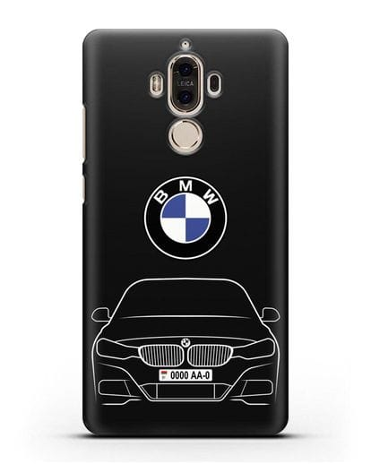 Чехол BMW 3 с автомобильным номером силикон черный для Huawei Mate 9