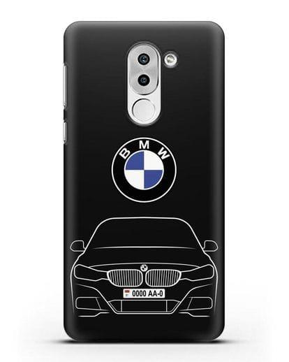 Чехол BMW 3 с автомобильным номером силикон черный для Huawei Mate 9 Lite
