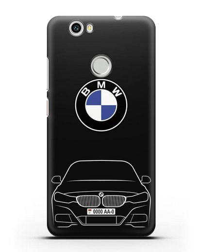 Чехол BMW 3 с автомобильным номером силикон черный для Huawei Nova