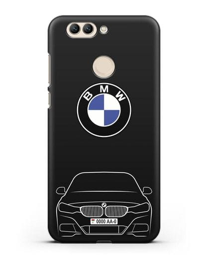 Чехол BMW 3 с автомобильным номером силикон черный для Huawei Nova 2 Plus