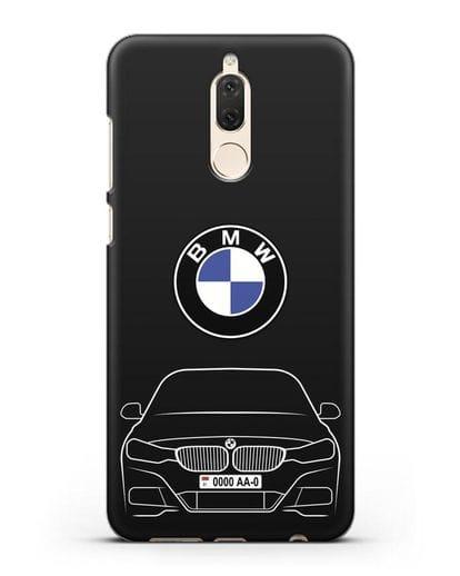 Чехол BMW 3 с автомобильным номером силикон черный для Huawei Nova 2