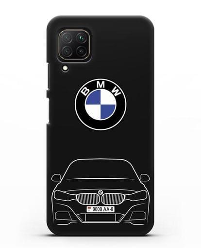 Чехол BMW 3 с автомобильным номером силикон черный для Huawei Nova 7i