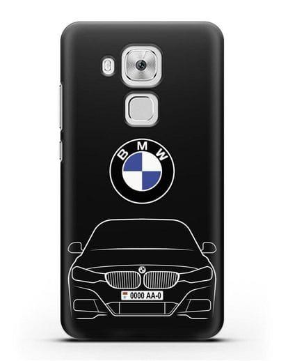 Чехол BMW 3 с автомобильным номером силикон черный для Huawei Nova Plus