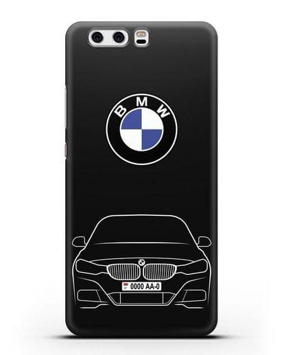 Чехол BMW 3 с автомобильным номером силикон черный для Huawei P10