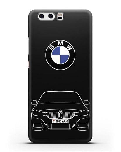 Чехол BMW 3 с автомобильным номером силикон черный для Huawei P10 Plus