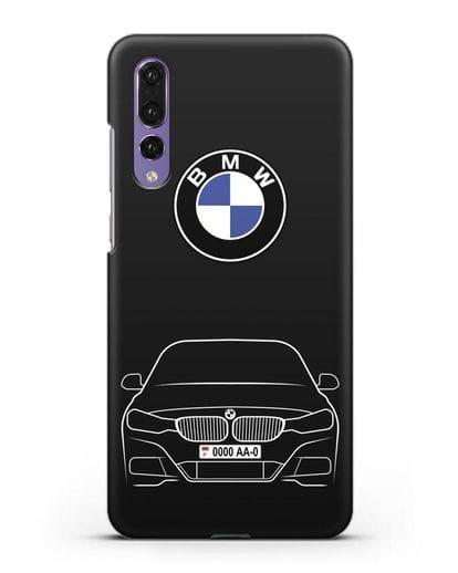Чехол BMW 3 с автомобильным номером силикон черный для Huawei P20 Pro