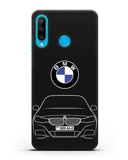 Чехол BMW 3 с автомобильным номером силикон черный для Huawei P30 Lite