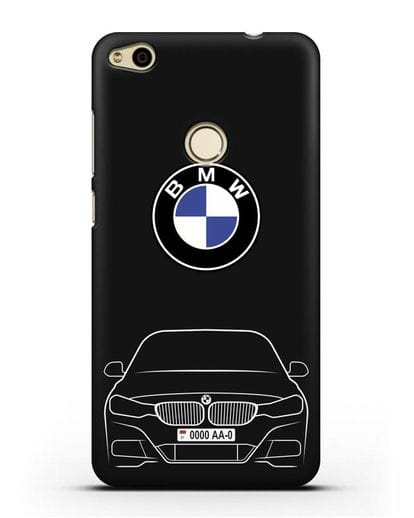 Чехол BMW 3 с автомобильным номером силикон черный для Huawei P8 Lite 2017