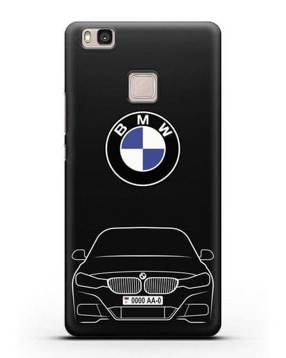 Чехол BMW 3 с автомобильным номером силикон черный для Huawei P9 Lite