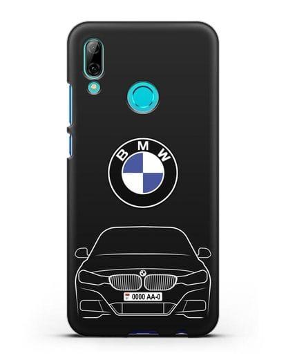 Чехол BMW 3 с автомобильным номером силикон черный для Huawei P Smart 2019