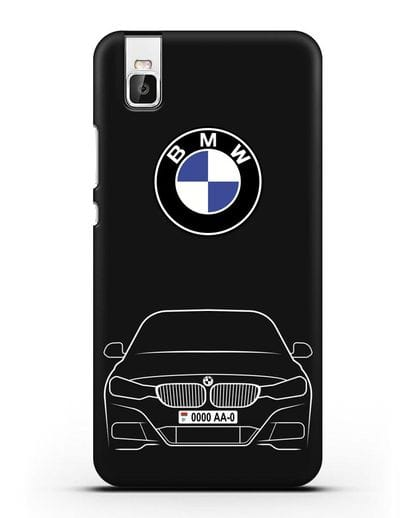Чехол BMW 3 с автомобильным номером силикон черный для Huawei Shot X
