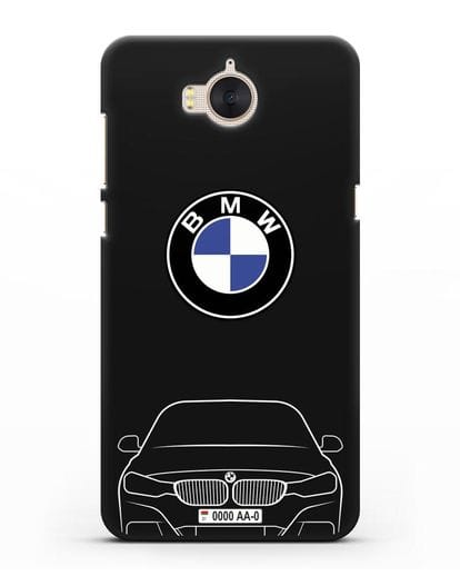 Чехол BMW 3 с автомобильным номером силикон черный для Huawei Y5 2017