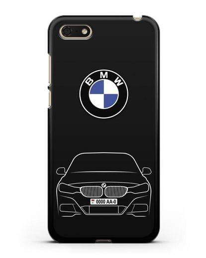 Чехол BMW 3 с автомобильным номером силикон черный для Huawei Y5 Prime 2018
