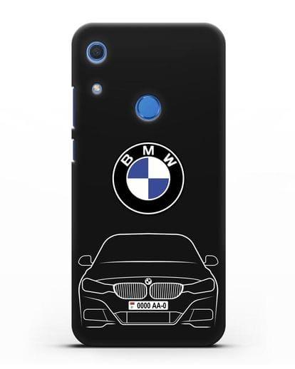 Чехол BMW 3 с автомобильным номером силикон черный для Huawei Y6s