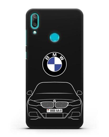 Чехол BMW 3 с автомобильным номером силикон черный для Huawei Y7 2019