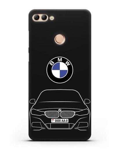 Чехол BMW 3 с автомобильным номером силикон черный для Huawei Y9 2018