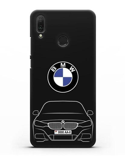 Чехол BMW 3 с автомобильным номером силикон черный для Huawei Y9 2019