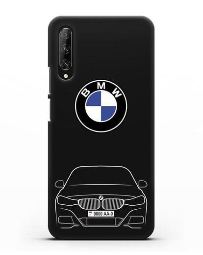 Чехол BMW 3 с автомобильным номером силикон черный для Huawei Y9s