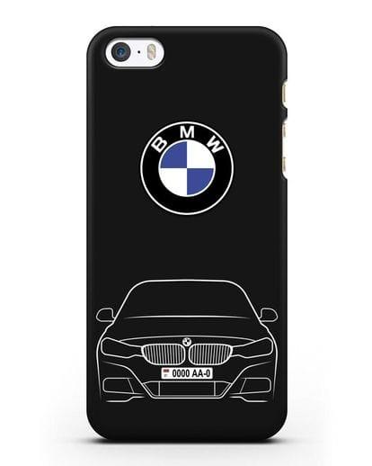 Чехол BMW 3 с автомобильным номером силикон черный для iPhone 5/5s/SE