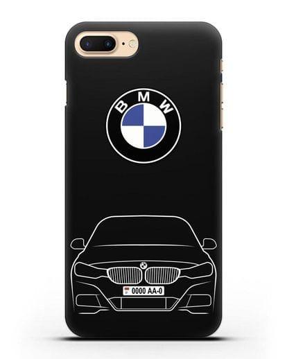 Чехол BMW 3 с автомобильным номером силикон черный для iPhone 8 Plus