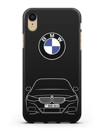 Чехол BMW 3 с автомобильным номером силикон черный для iPhone XR