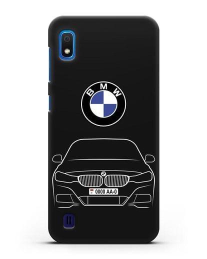 Чехол BMW 3 с автомобильным номером силикон черный для Samsung Galaxy A10 [SM-A105F]
