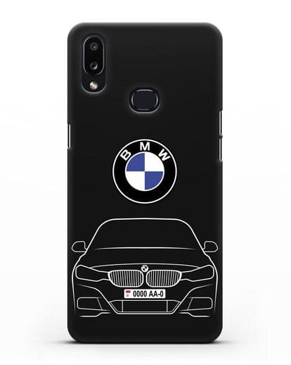 Чехол BMW 3 с автомобильным номером силикон черный для Samsung Galaxy A10s [SM-F107F]