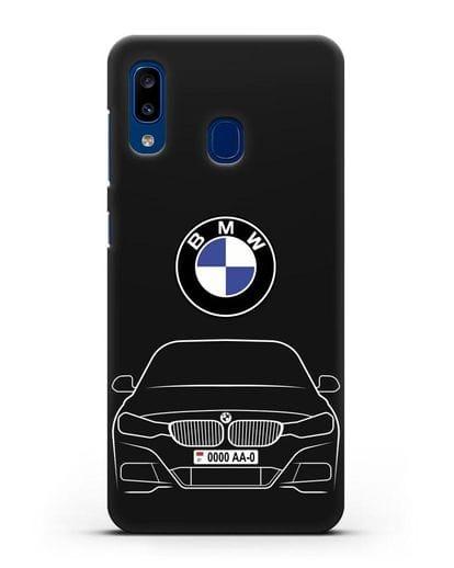 Чехол BMW 3 с автомобильным номером силикон черный для Samsung Galaxy A20 [SM-A205FN]