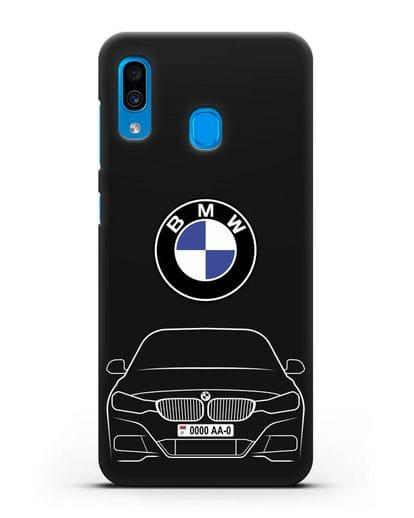 Чехол BMW 3 с автомобильным номером силикон черный для Samsung Galaxy A30 [SM-A305FN]