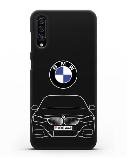 Чехол BMW 3 с автомобильным номером силикон черный для Samsung Galaxy A30s [SM-A307FN]
