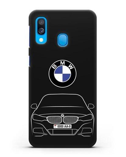 Чехол BMW 3 с автомобильным номером силикон черный для Samsung Galaxy A40 [SM-A405F]