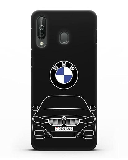 Чехол BMW 3 с автомобильным номером силикон черный для Samsung Galaxy A40s [SM-A507FN]