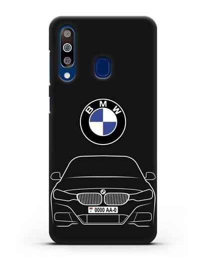 Чехол BMW 3 с автомобильным номером силикон черный для Samsung Galaxy A60 [SM-A606F]