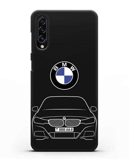 Чехол BMW 3 с автомобильным номером силикон черный для Samsung Galaxy A70s [SM-A707F]