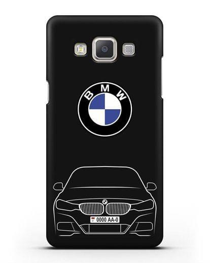 Чехол BMW 3 с автомобильным номером силикон черный для Samsung Galaxy A7 2015 [SM-A700F]