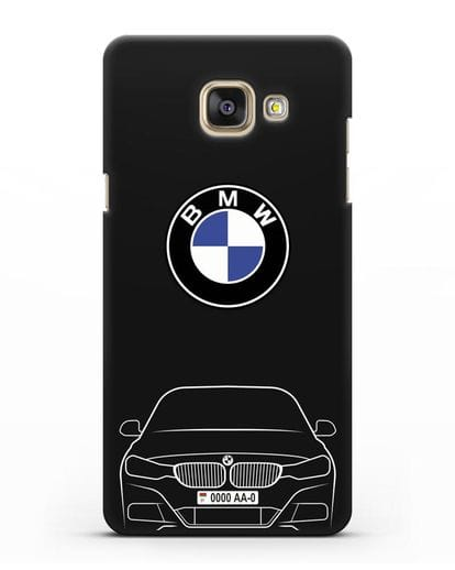 Чехол BMW 3 с автомобильным номером силикон черный для Samsung Galaxy A7 2016 [SM-A710F]