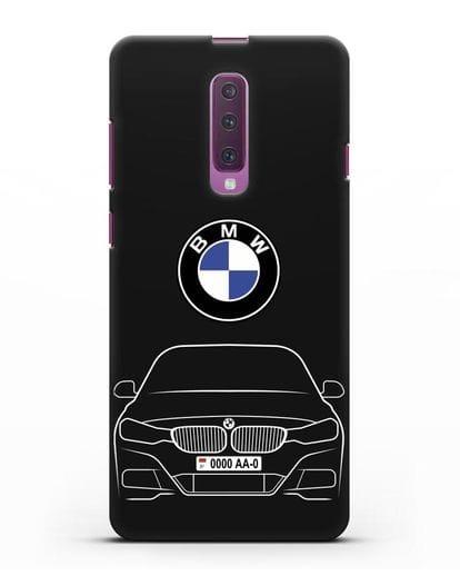 Чехол BMW 3 с автомобильным номером силикон черный для Samsung Galaxy A90 [SM-A908N]