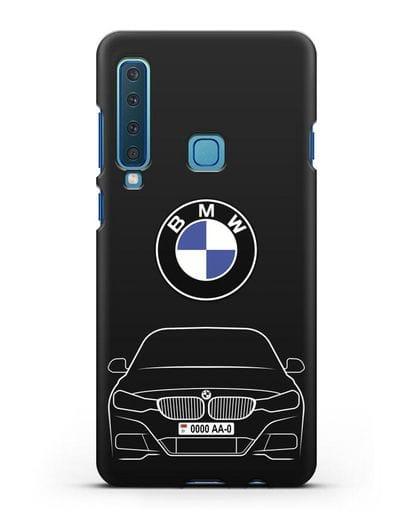 Чехол BMW 3 с автомобильным номером силикон черный для Samsung Galaxy A9 (2018) [SM-A920]