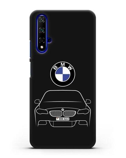 Чехол BMW 5 с автомобильным номером силикон черный для Honor 20